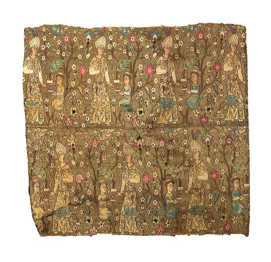 A FINE AND RARE SAFAVID SILK TEXTILE FRAGMENT,                 PERSIA, LATE 16TH CENTURY here