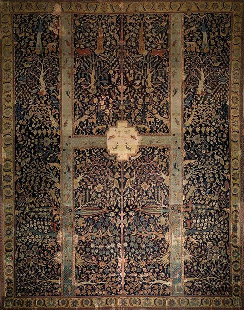 "Safavid Garden Carpet The carpet, named the ""Wagner"" Garden Carpet after a German collector,  is said to be reminiscent of the royal gardens in Isfahan. It is filled  with fruit trees, leopards, gazelles, and even pigeons and butterflies,  but it is definitely not portable. Its size is immense: 5.5 meters by  4.3 meters. here"