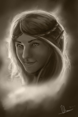 I portrait I did for my friend :) Just changed her into an elf :3