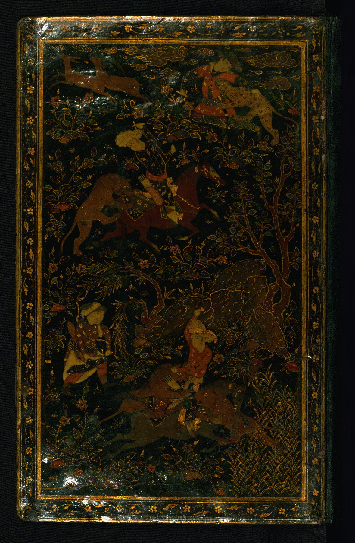 Lacquer binding  Label: This Safavid lacquer binding is decorated with hunting scenes and landscape motifs. It is attributable to the late tenth century                      AH / sixteenth CE or eleventh century AH / seventeenth CE.   This is an illuminated and illustrated Safavid copy of the first collection of poetry (Dīvān-i avval or Fātiḥat al-shabāb)                   by Nūr al-Dīn Jāmī (d. 898 AH / 1492 CE).  http://www.thedigitalwalters.org/Data/WaltersManuscripts/html/W640/description.html