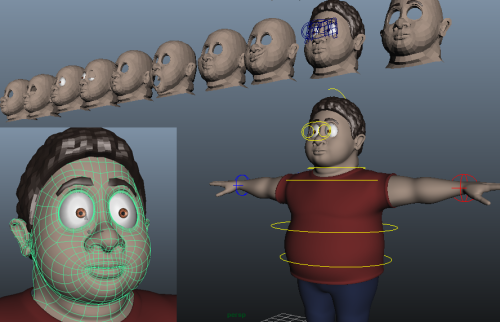 Fatty Facial Upgrade - loopy goodness.  His body is rigged, and we're about 1/2 through the face setup. (He'll have a less comprehensive blendshape set than Nell as he's in far fewer shots and goes through less facial variations).