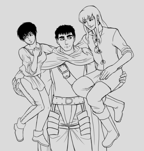 fucking ot3s how do I pose you. i'll color this eventually maybe.
