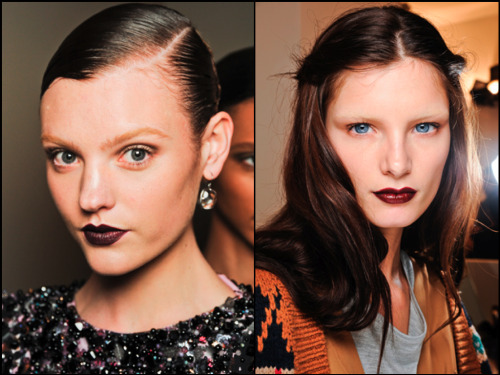 Beauty Trend Alert: Bottega Veneta (left) and Gucci (right) opted for a 'Noir Femme Fatale' look with deep plum and rouge pouts while bringing back the bleached brows for that major wow factor. We love it! Do you? #MFW