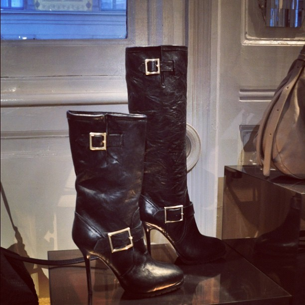 High heeled Jimmy Choo biker boots #mfw  (Taken with instagram)