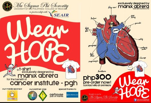 Here's the design for the Wear Hope shirt designed by Manix Abrera :) for size measurements, please refer to this document: https://www.facebook.com/ groups/181093165277390/  If you wanna order, just text the number given.