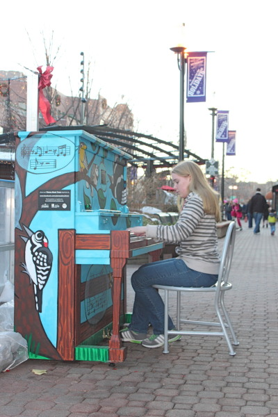 Public pianos in Old Town Square.