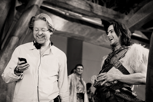 disneyprince:  Andrew Stanton and Taylor Kitsch, laffing about how great their movie is going to be.