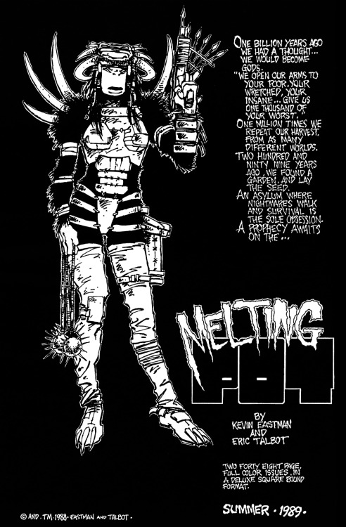 Promotional ad for Melting Pot by Kevin Eastman and Eric Talbot, 1988.