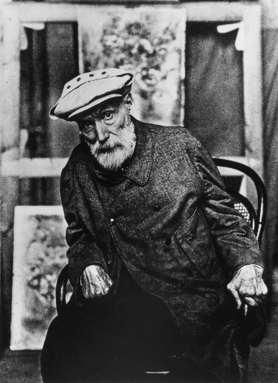 i12bent:  Photo of Pierre-Auguste Renoir towards the end of his life, when his hands were completely ruined by arthritis (which didn't stop him from painting and smoking like a chimney, as this old film shows…)