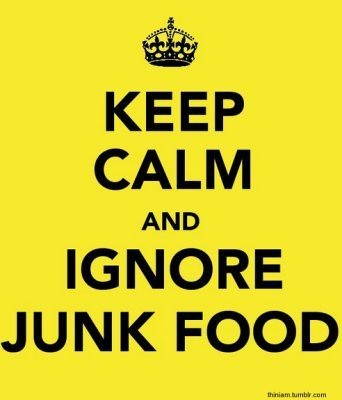 Keep calm and ignore junk food! Follow me at @ahealthyhigh for more nutrition facts.