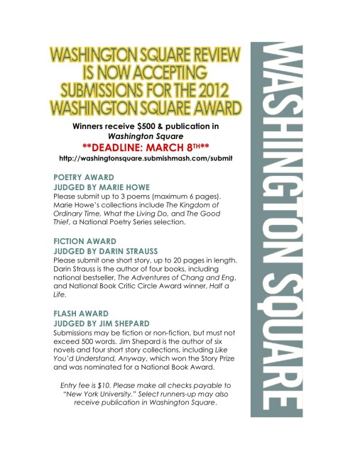 The 2012 Washington Square Award! Win $500!