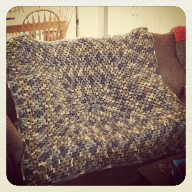 Done with blanket number two! Yay! :D #blanket #yarn #large #crochet #white #tan #blue #green #granny #square #personal  (Taken with instagram)