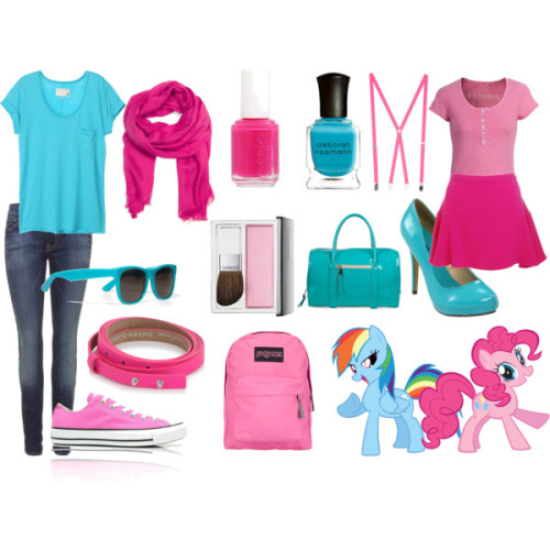Pinkie Dash x Rainbow Pie by mlpfashion featuring jansport backpacksRag bone cotton t shirt, $105True Religion t shirt, €797 For All Mankind distressed skinny jeans, $355Joseph mini skirt, £55Converse high top sneaker, $72Michael Antonio platform high heels, $46Chloé patent leather handbag, £1,370Jansport backpack, $35Diane von Fürstenberg pink belt, £173Super sunglasses, €120American apparel suspender, $18Mango scarve, £18CLINIQUE Blushing Blush Powder Blush, £19Deborah Lippmann 'Resort 2012' Nail Color On The Beach (C) One Size, $16Essie Pink Nail Polish Shades, $8