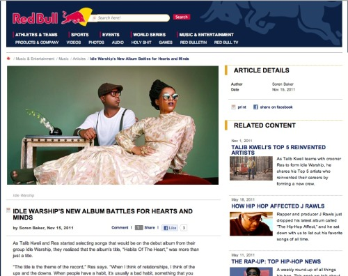screen shot of interview/feature of @idlewarship at Red Bull online. vintage chic. peep that neckline on the jumpsuit. YES THAT'S A JUMPSUIT!!! @chaythegr8 ROCKS!!! #makeupbyme