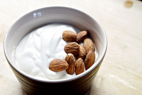 delicioustidbits:  almonds and yogurt (by lucius_kobbit)