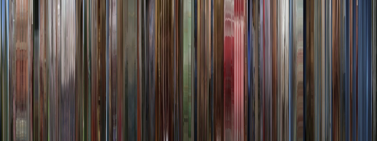 The Shining represented visually in slices of color over time, courtesy MOVIEBARCODE.