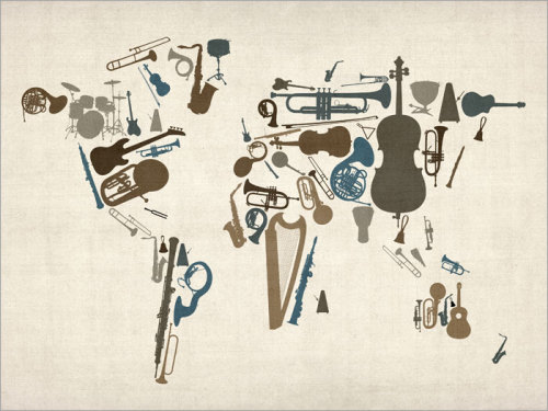 Musical Instruments Map of the World Map Art Print by artPause on Etsy