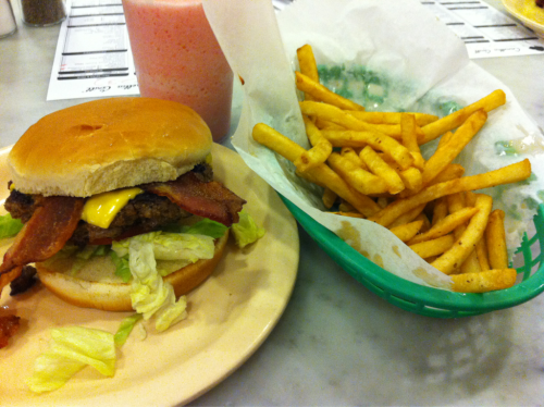 Bacon cheeseburger, fries and a cherry freeze from Camellia Grill in New Orleans.