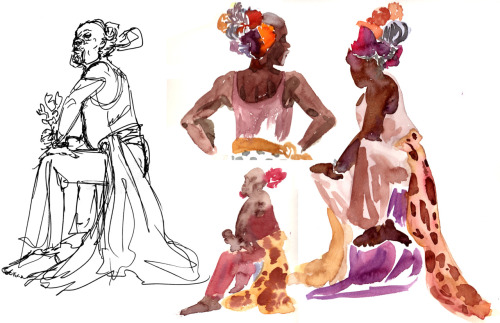 A page of drawings/quick paintings from sitting in on the Costume Figure class at my school a few weeks back. This model always puts a lot of neat things in his hair and has such cool patterns on his costume pieces- I wish I'd been able to stay for the longer poses towards the end of the class, but I had other stuff to work on.