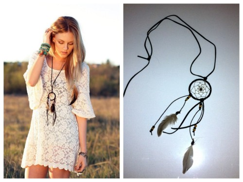 truebluemeandyou:  DIY Dreamcatcher Necklace. Photo LEFT: Cheyenne Meets Chanel here, Photo RIGHT DIY.  Lex D'Angelo of burnoutbrite was inspired by Shea Marie's dream catcher necklace on her blog Cheyenne Meets Chanel. Excellent tutorial on how to make this gorgeous necklace at burnoutbrite here.