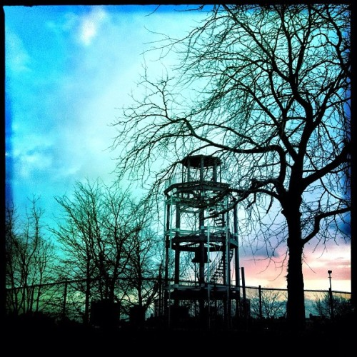 Old fire watchtower high atop #harlem  #nyc #instamoody #sky  (Taken with instagram)