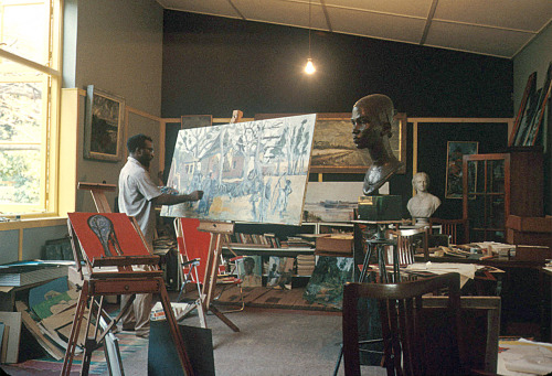 mangoislandfugitive:  Nigerian Sculptor and Painter, the late Ben Enwonwu in his art studio in Ikoyi, suburb of Lagos, Nigeria.  ''I will not accept an inferior position in the art world. Nor have my art called African because I have not correctly and properly given expression to my reality. I have consistently fought against that kind of philosophy because it is bogus. European artists like Picasso, Braque and Vlaminck were influenced by African art. Everybody sees that and is not opposed to it. But when they see African artists who are influenced by their European training and technique, they expect that African to stick to their traditional forms even if he bends down to copying them. I do not copy traditional art. I like what I see in the works of people like Giacometti but I do not copy them. I knew Giacometti personally in England, you know. I knew he was influenced by African sculptures. But I would not be influenced by Giacometti, because he was influenced by my ancestors.""