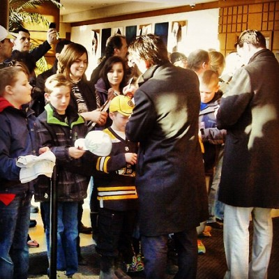 Marchand and Paille signed autographs before heading to the arena. #Bruins vs. #Senators at 7:00 PM ET.  (Taken with instagram)