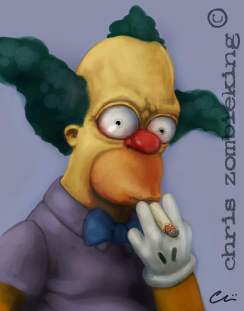 """the men of my dreams - krusty"" #2 in a series of 4 clown  sketches i did a few years back.."