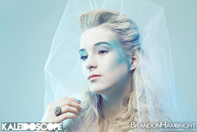 Ice Queen on Flickr.  Kaleidoscope Studio | Richmond, VA | February 4, 2012Credits: Model: Berkley Ann Isbell Photographer: Brandon Hambright Production: Kaleidoscope Concept / Wardrobe / Make-Up: Jessica Morris Hair Stylist: Eli GreeneStrobist: - Vivitar 285HV, 1/2 power, boomed over model, through white umbrella - Vivitar 285HV, 1/16 power, camera left , through white umbrella, light blue gel - LumoPro LP160, 1/16 power, camera right, through white umbrella, blue gel - Canon 430EXII, 1/32 power, on-ground camera right towards backdrop, bare triggered by Elinchrom Skyports Check me out on my other sites:BrandonHambright.com // Facebook // Twitter // Youtube // Tumblr