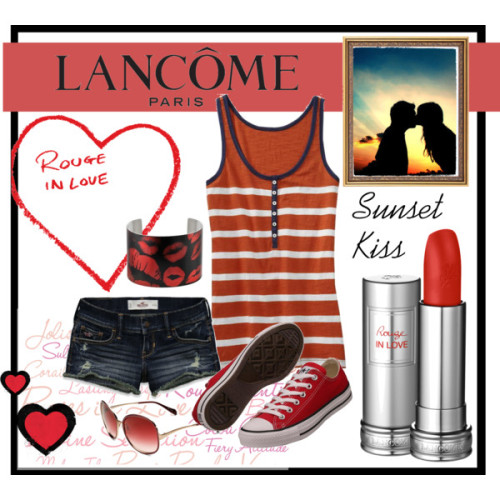 Red Sunset Kiss by emucito featuring ice.com jewelryOld Navy scoop neck tank, $12Hollister Co. cotton short shorts, $45Lace sneaker, $50Ice com jewelry, $70Oliver Peoples metal sunglasses, $405Lipstick, $25