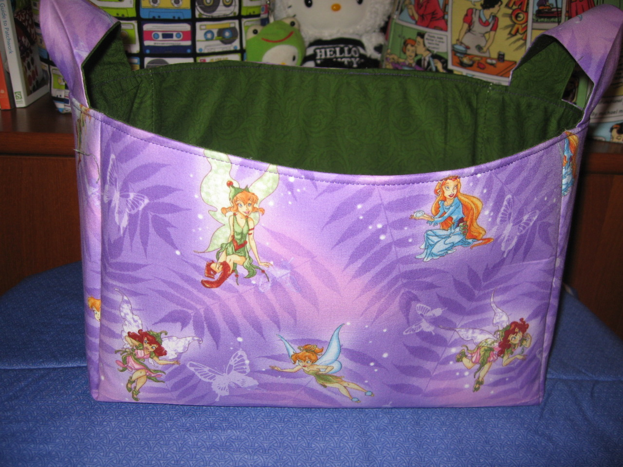 Tricky Pixies basket, $18. Tinkerbell and her friends are here to stay! Makes a wonderful gift basket or perfect for simply adding some whimsy to any room in your home! Store toys, towels, toiletries, loose wires, books, dvds/blurays/video games, remote controls, hair accessories, and more.  Basket is about 9.5 x 6.5 x 7.  To learn more e-mail me at CourtasticCreations@gmail.com, like Courtastic Creations on Facebook, or visit  www.courtasticcreations.blogspot.com