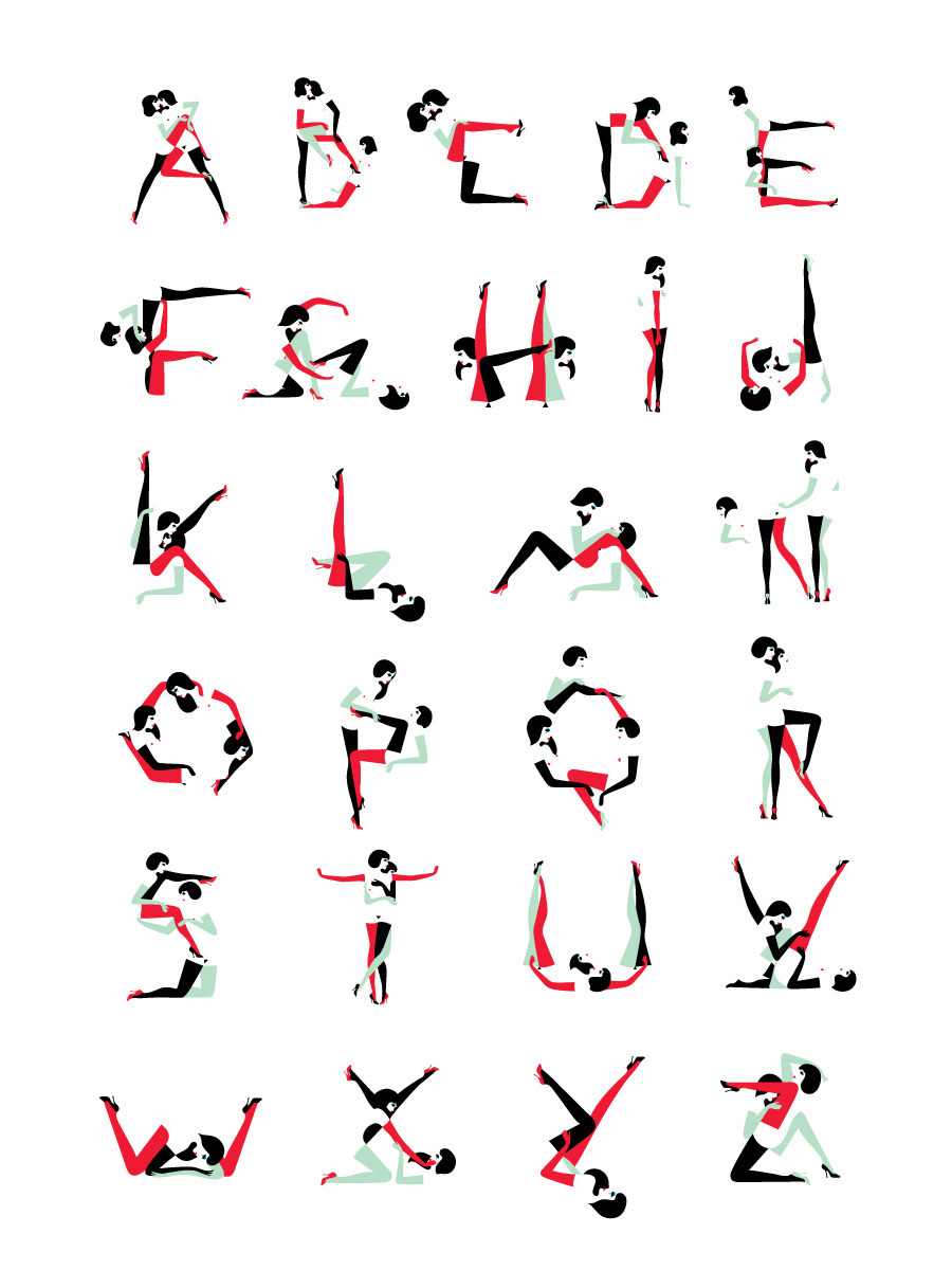 prostheticknowledge:  Wallpaper Pin-ups   Alphabet commissioned by Wallpaper for their Sex and Art issue. Animation by the one and only Maki Yoshikura   Typography+Illustration+Lesbians = my perfect type