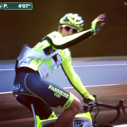 cycleboredom:  Unbelievable that @PippoPozzato was even in the race, much less staying in for 150k. Chapeau. #ohn #omloop  (Taken with instagram)