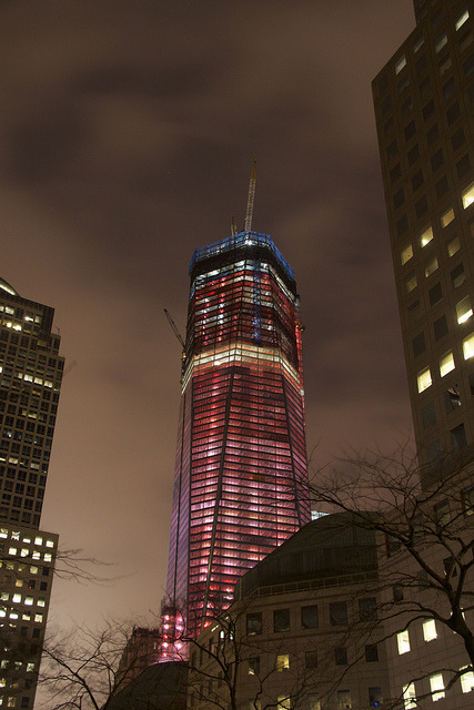 Freedom Tower on Flickr.Shot tonight while walking around - all light up red