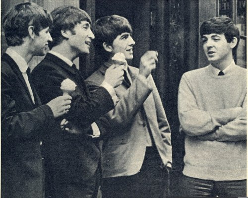 shitthebeatlesdidntsay:  John: Gosh, Ringo, isn't this ice cream SOOOO good? Ringo: Hell yeah! Right, George? George: So good I already finished eating it! Paul: Whatever, guys. Models can't eat ice cream. They've gotta keep their figure.