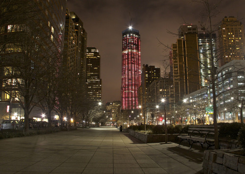 Red Freedom on Flickr.Freedom tower tonight from the south