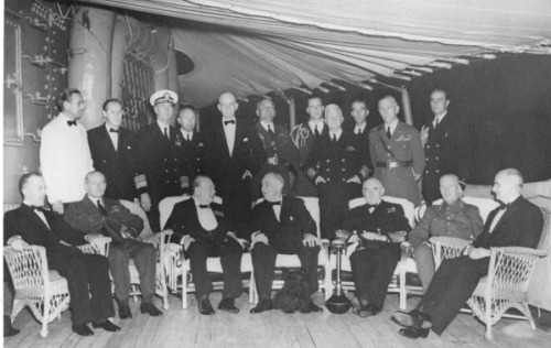 Fala At Sea Prime Minister Winston Churchill (seated, third from left) and President Franklin D. Roosevelt (seated, center) pose with unidentified men aboard the U.S.S. Augusta. Also present is General George Marshall (standing, second from right), and President Roosevelt's dog, Fala, seated at Roosevelt's feet, ca. August 1941. (Truman Presidential Library) History of the Atlantic Charter
