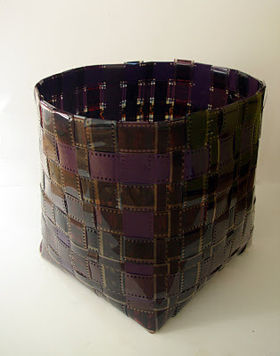 Isn't this basket, woven from rolls of 35mm and 16mm film, a great new use for old film? Probably fairly easy to make, assuming you have strips of film/negatives and know how to weave your own basket (there's a tutorial for that here). Pictured: upcycled film basket, made by Raquel Moreno Lopez, via entupunto.