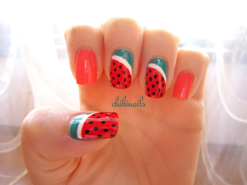 Watermelon nails inspired by Make My Day. Watermelon nails has always been my to-do design ever since I started off nail art (that was like…three years back LOL), but I never got around doing it. Well, I finally did this design!