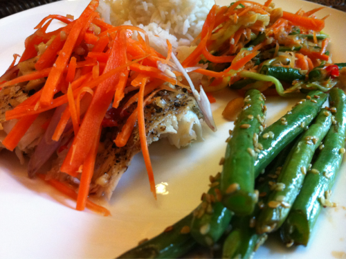 chilli and peanut roasted fish, sesame green beans and Vietnamese salad  -made by trin
