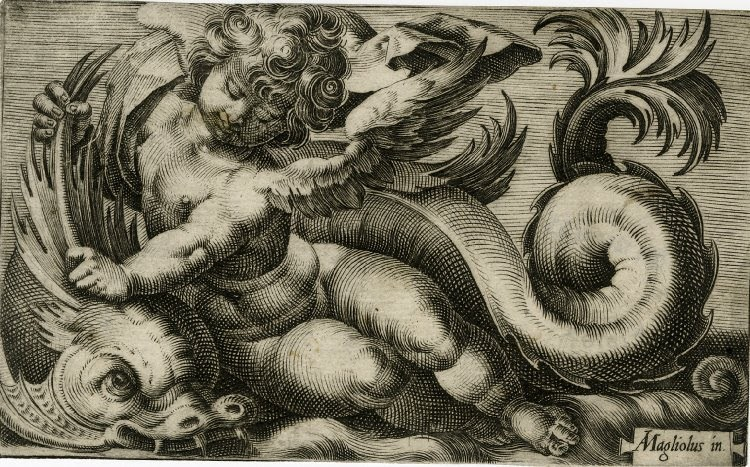 artandopinion:  Putto Holding on to a Sea Monster Giovanni Andrea Maglioli