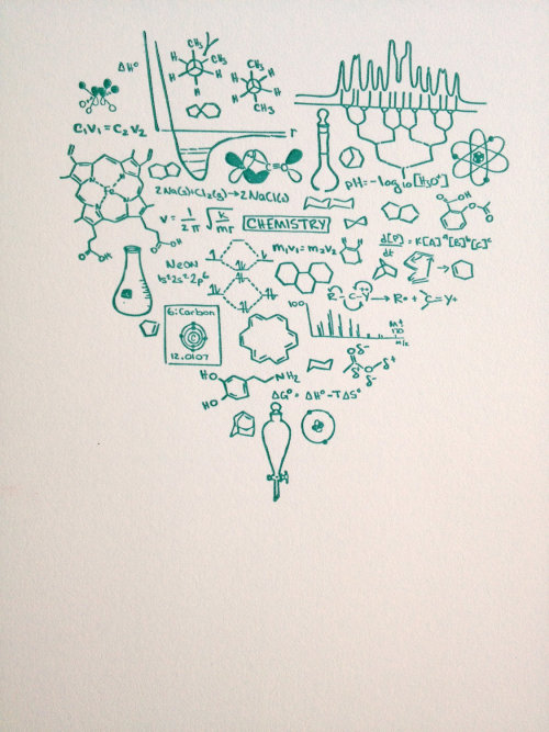 scientistintraining:  Got Chemistry print by molarchae     Love this!! It looks like everything I've learned this semester (: