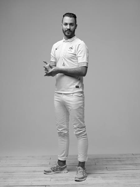 inventfootball:  French DJ Brodinski modelling France's newest away shirt.  So fresh and so clean!  Tres beau!