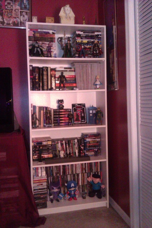 mistress-of-the-night:  My bookcase of doom. So full of random stuff and action figures. I really need another one this big, because more than half of my books are sitting in another room in boxes.