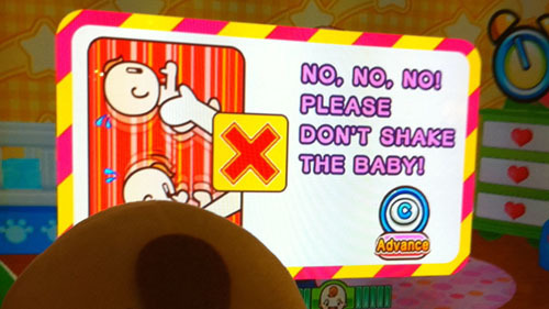 No, no, no! Please don't shake the baby!