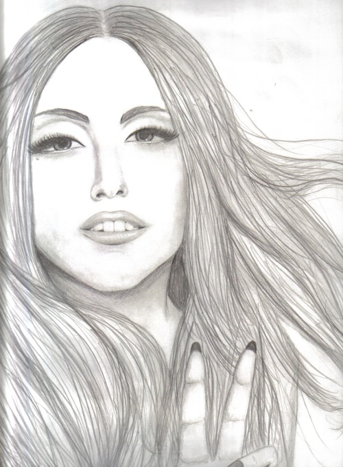 brainwashd:  Lady Gaga portrait I did as an independent art project..could be a lot better but i think it's alright for my first portrait in three years :p (not the entire thing by the way)