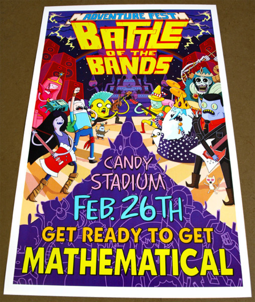"Limited Edition Adventure Time Fan Art Poster ""Battle of the Bands"""