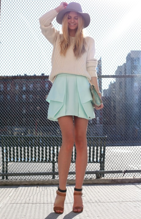 Wearing: Tibi skirt, Maje knit, Theory hat, Vintage clutch, Zara heels, Michael Kors watch and Jacquie  Aiche ring.