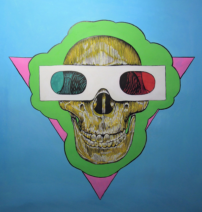 eatsleepdraw:  3D Glasses, Ominous green cloud, Pink triangle, Blue sky.