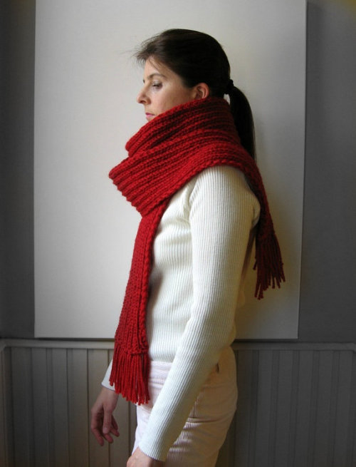 branda (via red scarf knitted in merino wool by branda on Etsy)